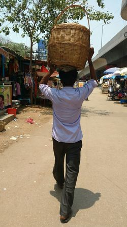 One Person Real People People Outdoors Full Length Basket Common Man Sunny Afternoon India Indian Stories Bangalore