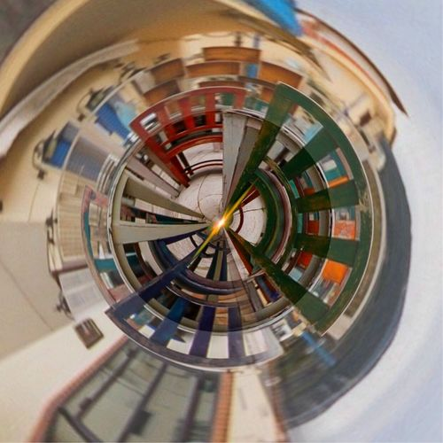 Digital composite of spiral staircase