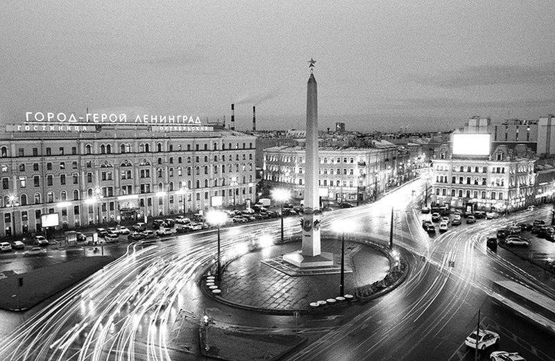 Silhouette Taking Photos Night City St.-Petersburg