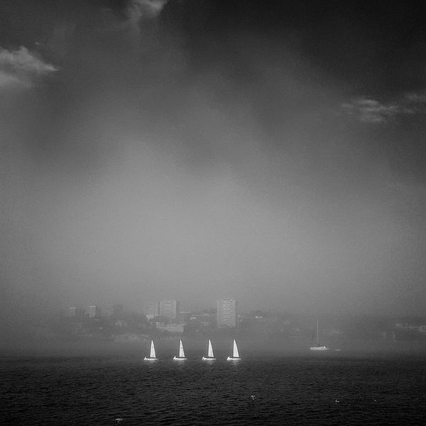 Monochrome Photography Water Waterfront Sea Nautical Vessel Transportation Tranquility Sky Tranquil Scene Ship Group Of Objects Distant Scenics Calm Nature Ocean Vacations Sailing Shipping  Beauty In Nature Cloud - Sky