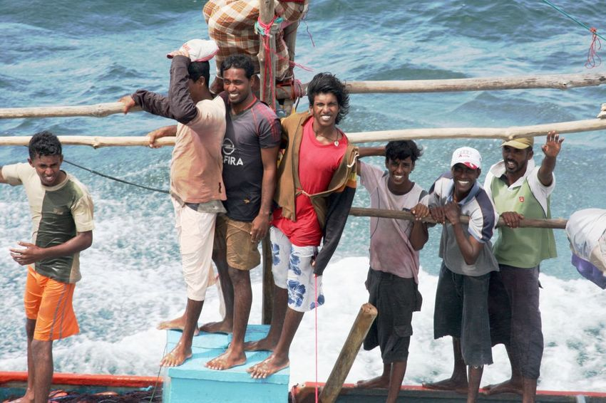 Indian Ocean Sri Lanka Day Fisher Men Looking At Camera Medium Group Of People Men Outdoors Sea Standing Togetherness Water Young Men