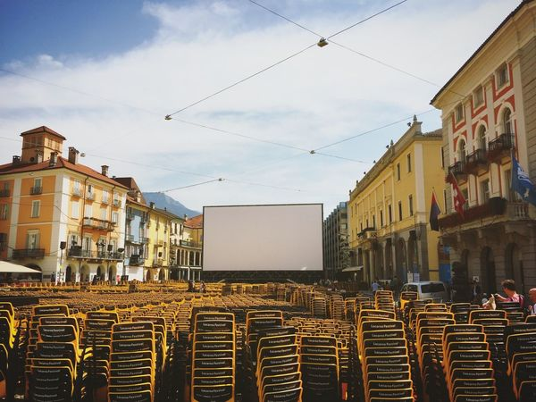 The big screen for Locarno Film Festival in Piazza Grande Film Festival Locarno, Switzerland Locarno Pardo Festival Switzerland Arts MOVIE TICINO ♡ Ticino Big Screen Built Structure Sky Outdoors No People Piazza Grande Locarno Piazza Grande Week On Eyeem
