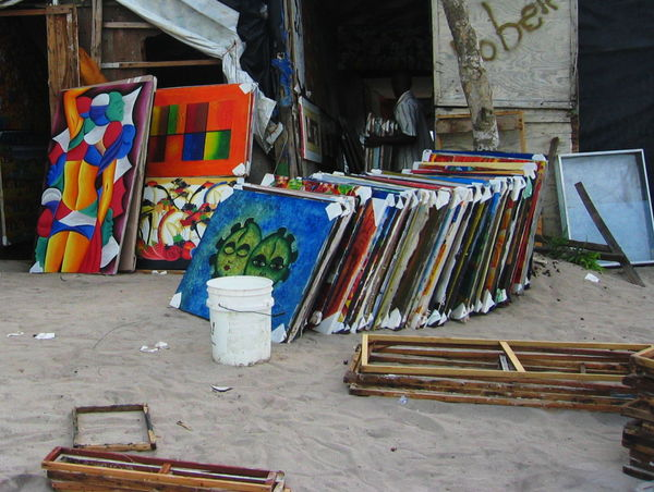 2007 Dominican Republic Dominicus Beach Paintings Colorful Day Large Group Of Objects Multi Colored Outdoors Sand