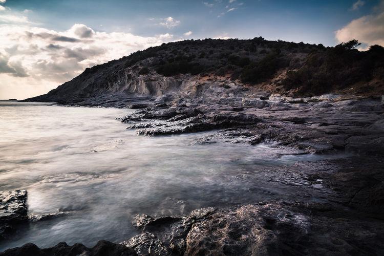 Dramatic landscape view of cala sapone sant'antioco sardegna