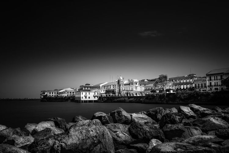 Black & White Casco Antiguo, Panamá Casco Viejo Panama Panamá Architecture Building Exterior Built Structure Canon Caribbean City Cityscape Contrast Long Exposure Monochrome Nature No People Outdoors Rock - Object Sea Sky Water Black And White Friday