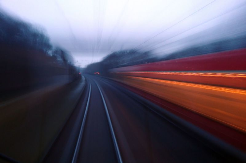 Blurred motion of train in the morning