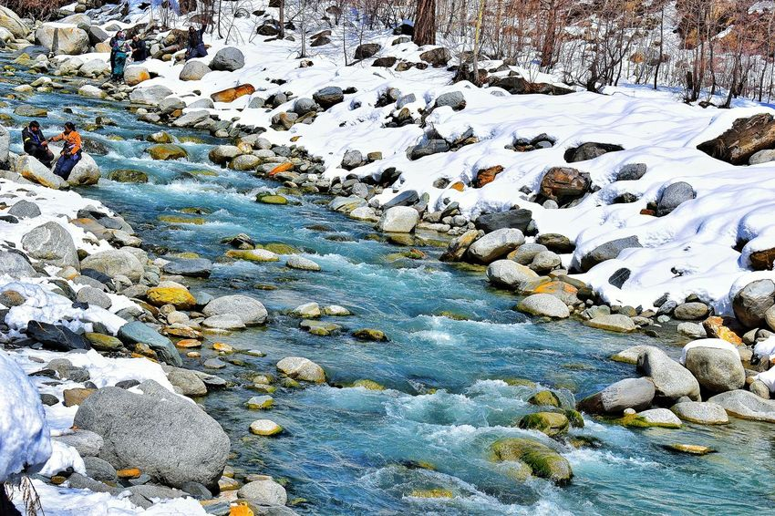 Backgrounds Full Frame Day Outdoors Cold Temperature Nature Snow Textured  Beauty In Nature Travel Hillstation Cheerful Landscape Himachal Pradesh, India Springtime Snowcapped Mountain Winter Mountains And Valleys Sky Tree Riverbank Riverscape Colourful Stones & Water Water Live For The Story Shades Of Winter