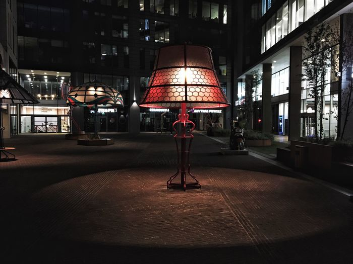 Vintage Style Liberty Mobile Phone Street Light Artist Lamp Art Design Night Illuminated Architecture Built Structure City Building Exterior Street Lighting Equipment Red No People Umbrella Road Light Electric Lamp Outdoors Building