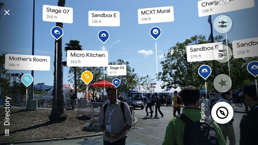 AR View of the Google I/O conference Politics And Government Road Sign City