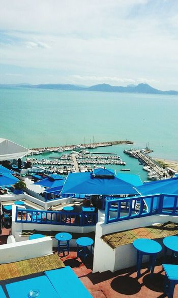 Sea Water High Angle View Sky Transportation Cloud - Sky Horizon Over Water Nautical Vessel Mode Of Transport Architecture Blue Building Exterior Roof City Scenics Travel Destinations Tranquility Beauty In Nature Tranquil Scene Ocean Sidi Bou Said Tunis
