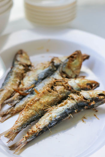 Close-up of fish in plate on table