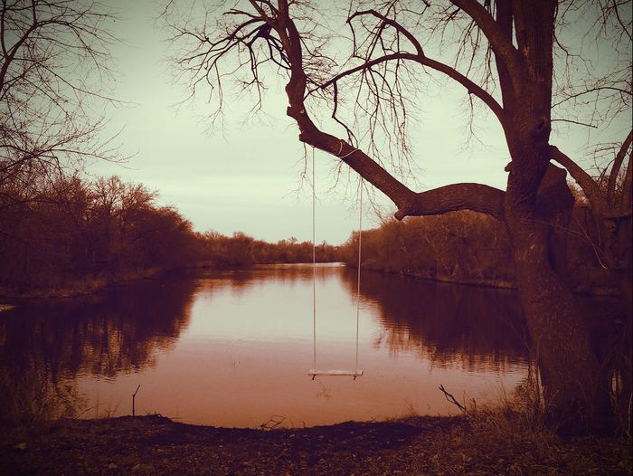 Reflection Sunset Nature Tree No People Sky Outdoors Water Tranquility Beauty In Nature Scenics Swing River Taking Photos Picturejunkie Check This Out Pretty♡ Bare Tree Branch Iowa