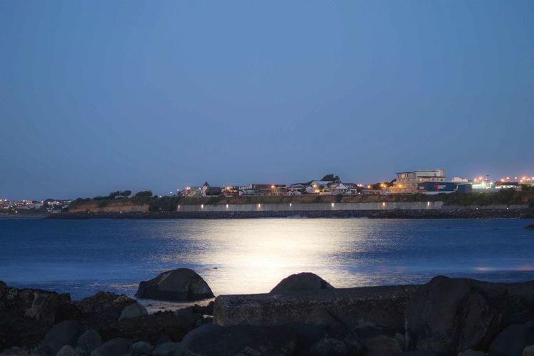 Moonlight across New Plymouth's waterfront.