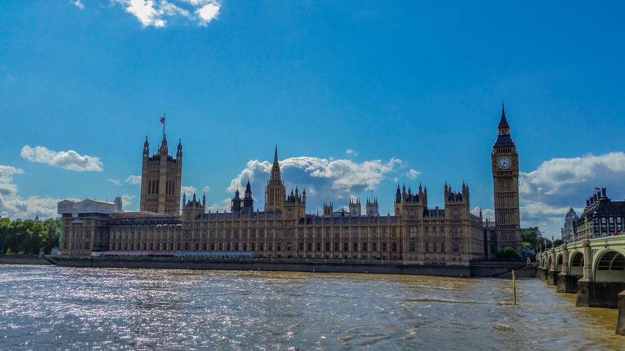 Palace Of Westminster And Big Ben By Thames River Against Blue Sky