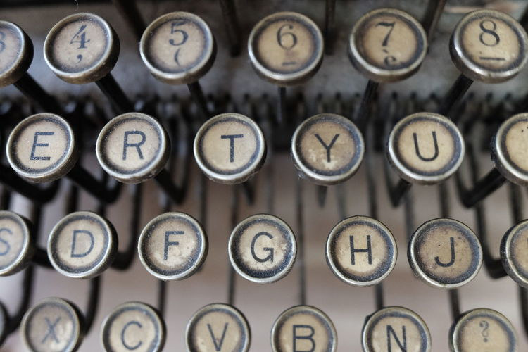 Old typewriter details Alphabet Antique Backgrounds Capital Letter Clock Close-up Communication Dirty Full Frame In A Row Indoors  Letter Metal No People Number Obsolete Old Orthographic Symbol Push Button Retro Styled Technology Text Typewriter