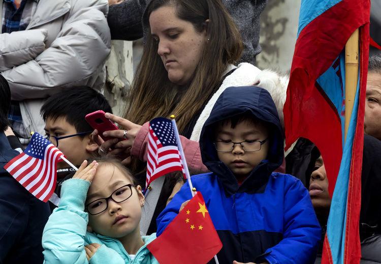Chinese New Year 2018 Celebration NYC Sara Roosevelt Park NYC Chinese New Year 2018 Celebration NYC Sara Roosevelt Park NYC American And Chinese Flags Audience Chinese New Year Ethnic Pride
