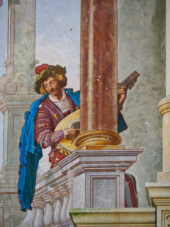 Painted Walls Human Representation Creativity Architecture Built Structure Building Exterior Building Painted Wall Painted Image Wall Art The Past Travel Photography Colourful Historical Building Historical Place Eyem Gallery Traditional Clothing Male Likeness Architectural Column Sinaia