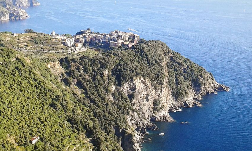 Promontorio Promontory Cape  Liguria,Italy Riviera Ligure Mar Ligure Liguria Ligurian Sea Smartphone Photography Mobilephotography Village Borgo Old Village Agriculture Fishermen Village Italy Water Sea Blue High Angle View Sky Built Structure Rocky Coastline Coastline Coast Seascape Calm