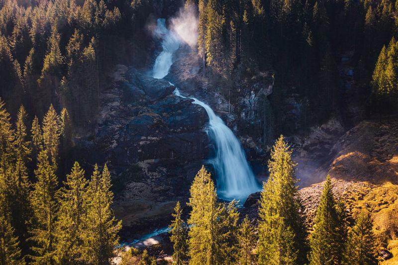 Long exposure image of the famous krimml alpine waterfalls in krimml, salzburg, austria