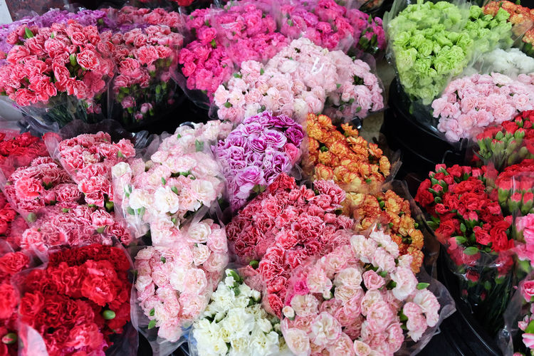 High angle view of various flowers in market