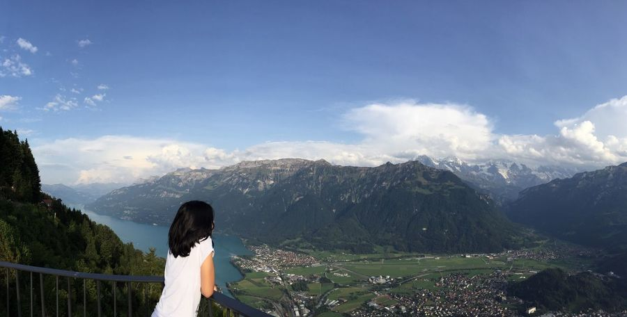 Real People Mountain One Person Leisure Activity Lifestyles Women Sky Cloud - Sky Standing Rear View Nature Day Outdoors Mountain Range Scenics Landscape Tree The Week On EyeEm Young Adult Adult Harder Kulm Interlaken Switzerland Lost In The Landscape Love Yourself