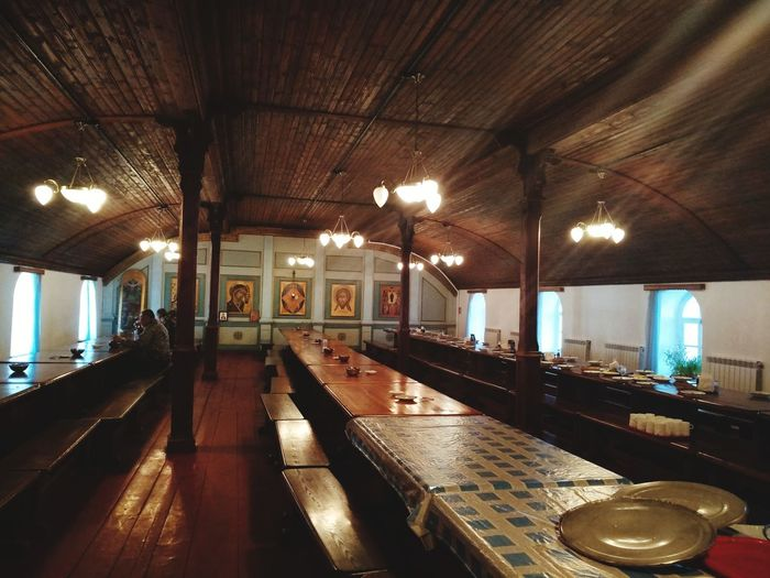 This is a christian dining room in Vallam Island. Valaam Refectory Orthodox Orthodox Church Water Illuminated Swimming Pool Modern Built Structure