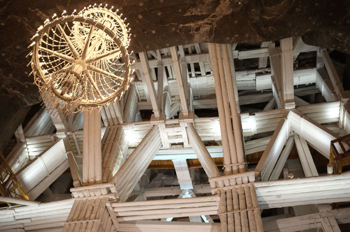 Structural supports at Wieliczka Salt Mine in Krakow SUPPORT Salt Mine Scaffolding Structural Engineering Wieliczka Salt Mine Architecture Chandelier Krakow Looking Up Mine No People Structural Support Wood - Material