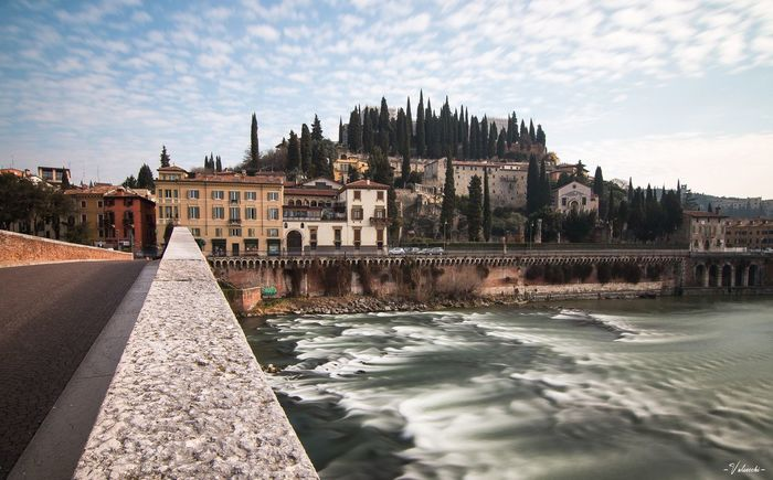 Uno sguardo verso il teatro romano Verona Silk Effect Landscape Bridge - Man Made Structure Bridge River Built Structure Architecture Building Exterior Sky Nature City Water Cloud - Sky Travel