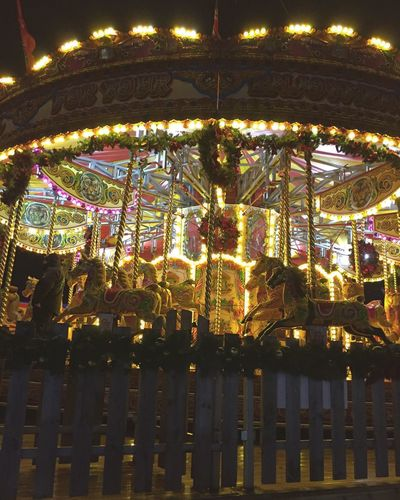 Christmas Lights Fair Merrygoround Vintage