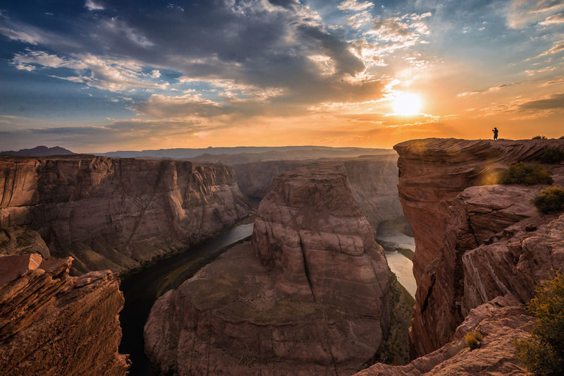 High Angle View Of Horseshoe Bend At Sunset