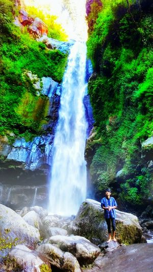 Water Real People Waterfall Motion Green Color Multi Colored Splashing Leisure Activity Outdoors EyeEm Best Shots Octavianuspict Photophone  INDONESIA Eyeemindonesia Coulour