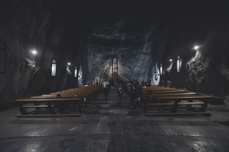 Bench Chapel Dark Famous Place Indoors  Lights Men Mine Parajd Place Of Worship Praid Religion Salt Saltmine  Transylvania