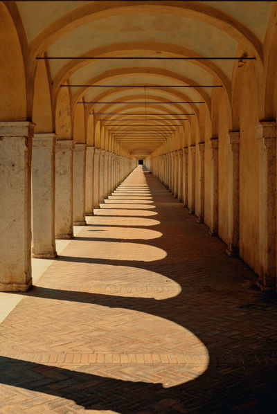 historical colonnades in Comacchio Arcade Arch Arched Architectural Column Architecture Building Built Structure Ceiling Colonnade Corridor Day Diminishing Perspective Direction Empty Flooring History In A Row Italy Long No People Repetition Shadow Sunlight The Past The Way Forward