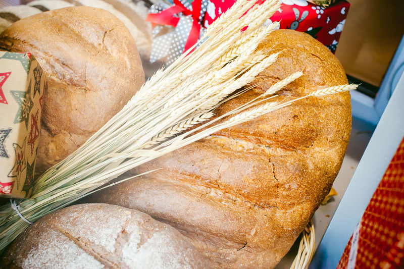 Close-up of bread and wheat