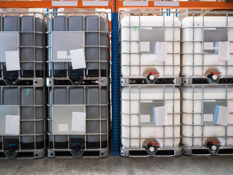 Container for solvent storage in the warehouse and factory,plastic storage drum Warehouse Tank Storage Solvent Stack Rack Plastic Package Logistics Material Indoors  Import Freight Transportation Factory Dump Day Container Export Drum Cardboard Box Box Business Indoors  Indoors