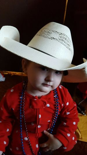Sassy cowgirl Hat One Person Waist Up Child People Childhood Real People Indoors  Close-up