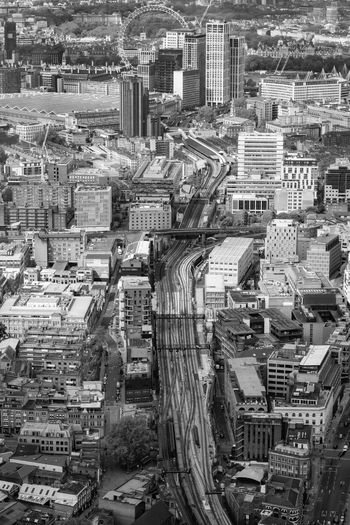 High angle view of street and buildings in city