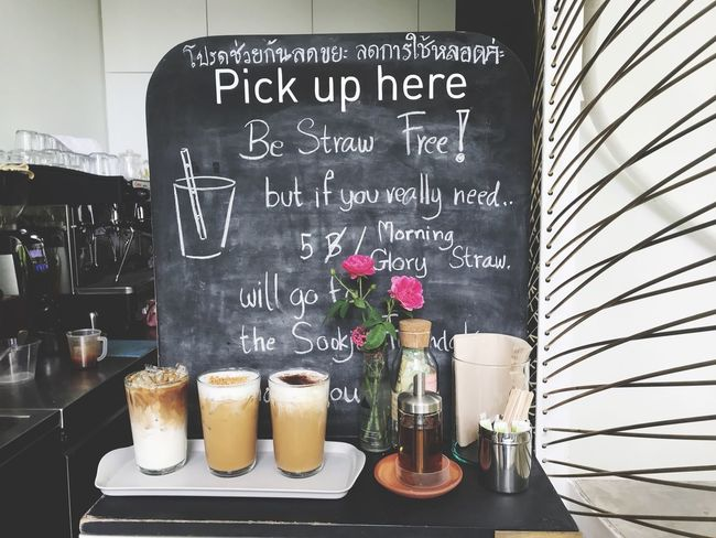 Ice coffee in cafe Coconut Coffee Latte Macchiato Cappuccino Minimal Traditional Thai Cafe Coffeshop Cafe Menu Energy Drink Caffeine Text Food Western Script No People Communication Drink Refreshment Freshness Cafe Sign Indulgence Still Life Business Table Restaurant Baked Blackboard  Day Menu