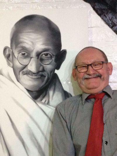 Me and Mahatma Ghandi Senior Adult Smiling Eyeglasses  Mature Adult Portrait