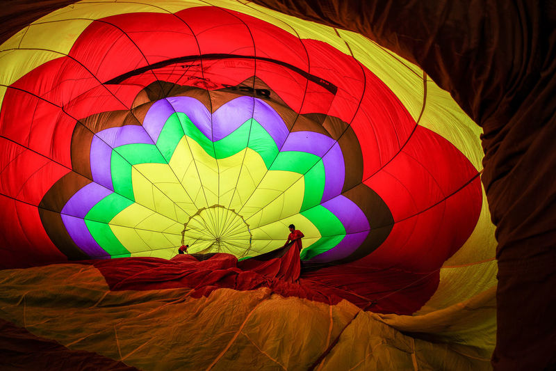 Hot Air Balloon Illuminated Multi Colored Night No People Outdoors