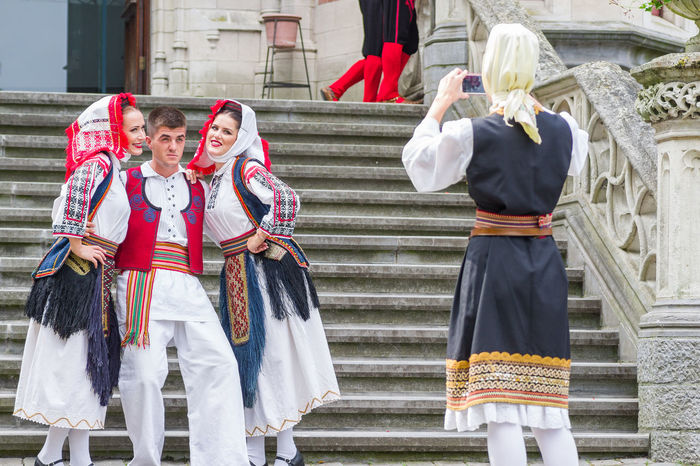 Traditional Clothing Dancefest Slovenia Dancers Young Women Looking At Camera Traditional Clothing Westerlo