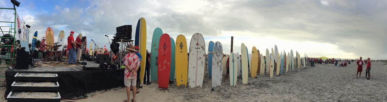 Wall of surf boards Surfing Santas Cocoa Beach, Florida Surf Boards Multi Colored Panoramic Stage - Performance Space