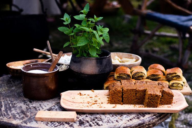 Medieval food on table