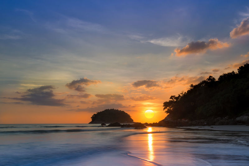 Holiday in Phuket,Thailand Beach Cloud Coast Golden High Season Kata Beach,Phuket Thailand Mirror Reflection Sea Signature Sun Sunlight Sunrise Sunset Tide