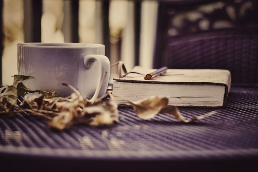 Alone time No People Close-up Leaves Writing Table November Pen Coffee Drink Autumn Coffee - Drink Tea - Hot Drink Circles Text Brown Book Journal Introvert
