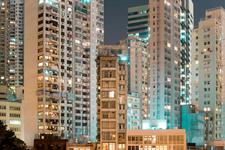 Low angle view of buildings at night