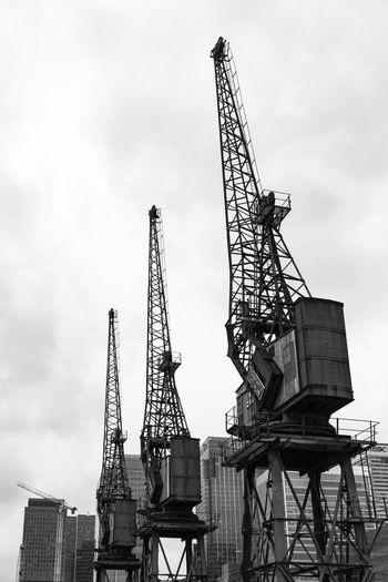 Quay Cranes, Poplar, London, England, United Kingdom Architecture Building Exterior Built Structure Construction Construction Machinery Construction Site Crane Crane - Construction Machinery Day Development Girder Industry Low Angle View Metal No People Outdoors Sky Steel