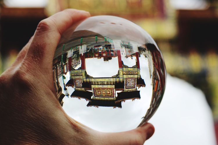Human Hand Real People Human Body Part One Person Personal Perspective Holding Human Finger Unrecognizable Person Focus On Foreground Close-up Glass Crystal Ball Men Architecture Outdoors Liverpool, England Liverpool Chinatown Building Exterior Art Is Everywhere