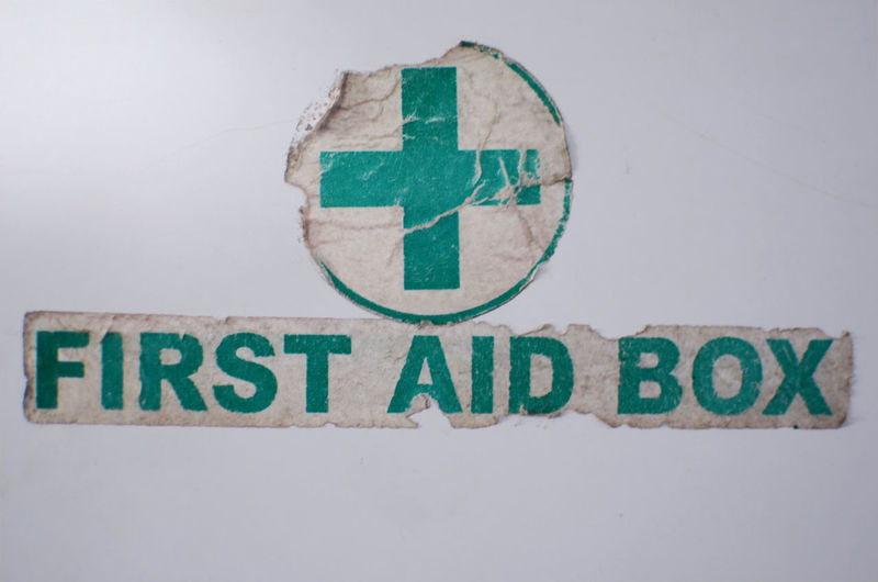 Close-up of first aid box