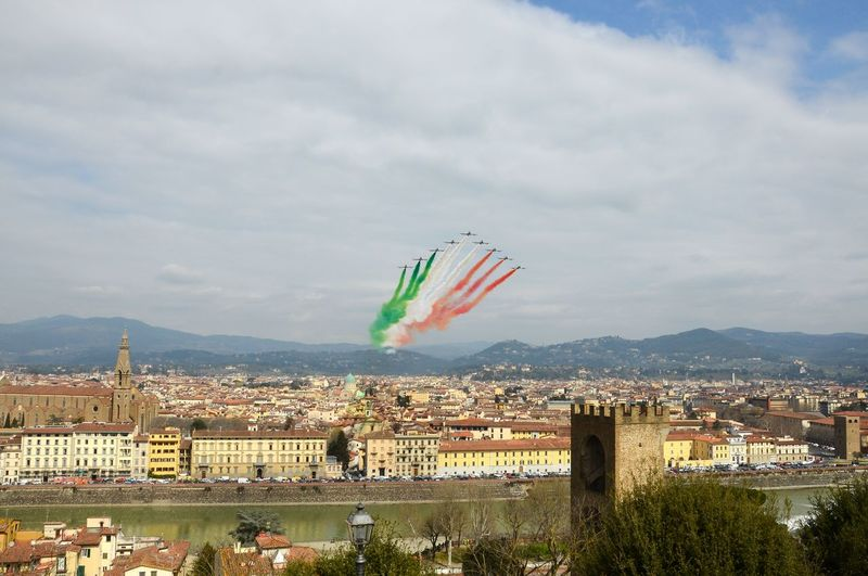 Florence, Italy - March, 28 2018: Airshow of PAN Frecce Tricolori. The Frecce Tricolori in the sky of Florence for 95th birthday of the Italian Air Force in Florence. The team flies the Aermacchi MB-339-A/PAN. 2018 339 Aermacchi MB-339-A/PAN AirPlane ✈ Cathedral Firenze, Italy Florence Italy Show Acrobat Acrobatic Air Aircraft In The Sky Airplane Arrows Aviation Aviationphotography Demonstration Editorial  Fighter Plane Frecce Tricolore Frecce Tricolore Airshow Frecce Tricolori Frecce Tricolori Airshow Italian Jet